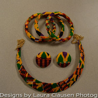 5-piece Yellow and Green Kente Necklace, Earring, and Bracelet Jewelry Set.