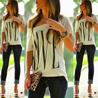 Lady Women Summer Casual Blouse Tee Shirt Cami Top Loose Tops Strapless