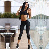 Women Sport Two-Piece Yoga Exercise Solid Top Women Tank Vest Suit Outfit a13056