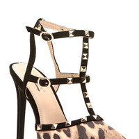 Leopard Print Faux Nubuck Ankle Strap Studded Pointed Toe Heels