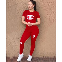 Champion Fashion Women Casual Print Short Sleeve Top Pants Set Two-Piece Sportswear Red