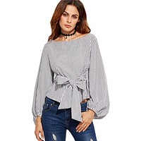 New Fashion Womens Off Shoulder Blouse Long Sleeve Striped Shirt With Bow Tie Women Fashion Shirt
