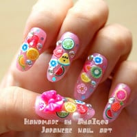 Long nails, fruit nail, 3D nails, decoden, decora, harajuku, Japanese, jfashion, kawaii nail, pink nail, gyaru nail, nail set