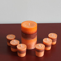 Tahitian Orange and Musk! Triple Scented Candle Set, 3x6 Pillar and 6 Votives, Natural, Aromatherapy Candles