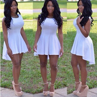 Front High Back Low Sleeveless Dress