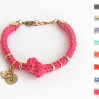 Initial bracelet, personalized bracelet with anchor charm and knot, initial charm bracelet