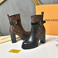 lv louis vuitton trending womens black leather side zip lace up ankle boots shoes high boots 226