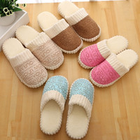 Comfortable warm and lovely cotton drag Winter slippers Fashion home slippers Warm plush slippers English letter shoes