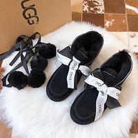 UGG Trendy Ladies Bow Silk Scarf Low Cut Snow Boots Shoes
