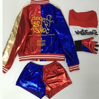 batman halloween costumes for women plus size sexy carnival adult for woman harley quinn jacket and shirt leather suicide squad