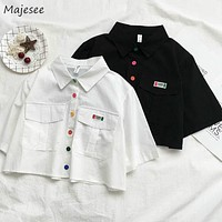 Blouse Womens Summer Retro Short Sleeve 2020 Crop Top Colorful Button White Women Shirts Students Kawaii Cute Soft Stylish New