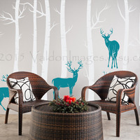 Birch trees with deer wall decal, home decor, vinyl wall decals, housewares, trees, elk, forest, wall art