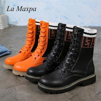 La MaxPa Dr. Martens Women's Boots Autumn Winter New Fashion Casual Martin Boots Letters Knitted Socks Lace Up Flats Boots