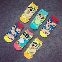 1pairs Summer Kawayi Crayon Shin Chan Women Socks Nohara Shinnosuke Cute High Cotton Cartoon Girls Funny Comfortable Hot New