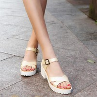Summer Square heel Rough Sandals Woman