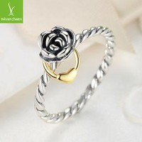 925 Sterling Silver Flower Rings Compatible With European Fit Original Pandora Engagem