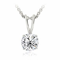 Silver Tone 3/4ct CZ Round Solitaire Necklace, 6mm