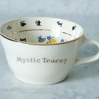 Mystic Fortune Telling Teacup - 1949 Fortune Telling Cup w Instructions - Vintage Mystic Fortune Teacup