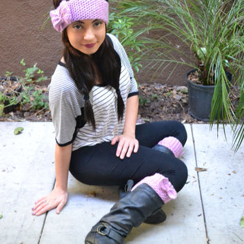 Crochet Set Headband and Boot Cuffs with Bows - Bow Headband - Bow Boot Cuffs - Fashion Accessories - Gift for Her