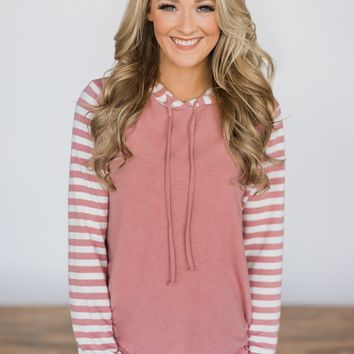 Looking Pretty Striped Hoodie ~ Mauve