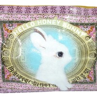 """Lovely White Bunny Art Design """" Hello Honey Bunny"""" Oil Cloth Large Make-up or Accessory Travel Bag"""