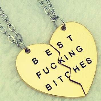 New Style Fashion Broken Heart 3 Parts Gold Best Bitches Necklaces & Pendants,Jewelry For Women,Best Gift for Friends (With Thanksgiving&Christmas Gift Box)= 1946468612