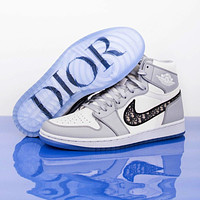 Dior x Nike Air Jordan 1 Retro High Men's and Women's Basketball Shoes Sneakers