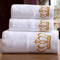 SunnyRain 3-Pieces Embroidered Crown White Hotel Towel Set Cotton Towel 600GSM Face Towels Bath Towel For Adults Washcloths