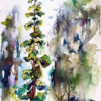 Tall Tree Landscape - Original Watercolor and Ink by Ginette Callaway