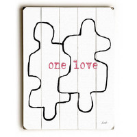 One Love Puzzle Piece by Artist Lisa Weedn Wood Sign