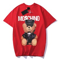 Moschino Fashion New Summer Letter Bear Print Women Men Top T-Shirt Red