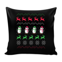 Cute Penguin Ugly Christmas Funny Festive Ugly Christmas Holiday Sweater Decorative Throw Pillow Cases Cover(4 Colors)