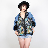 Vintage Bomber Jacket Chambray Blue Denim Jacket 1980s Windbreaker Jacket Sporty Black Gold Baroque Print 80s Jacket Track Jacket M Medium