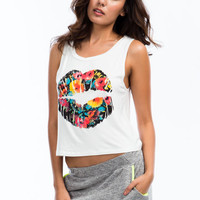 White Floral Lip Print Crop Tank