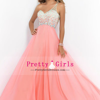 2015 Fascinating One Shoulder Sweep Train Prom Dresses Chiffon And Tulle With Ruffles And Beading $ 175.34 PGDP3ZSGR3Q - PrettyGirlsDresses.com for mobile