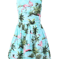 Blue Trees And Flamingo Print Sleeveless A-Line Mini Skater Dress