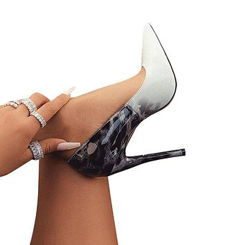Thin Heel Pumps Leather Pointed Toe Ladies Sexy Wedding Party Shoes
