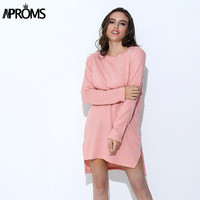 Aproms Autumn Long Sleeve Sweater Dress Women Casual 2017 Zipper Kintted Loose Winter Tunic Dresses robe hiver vetement femme