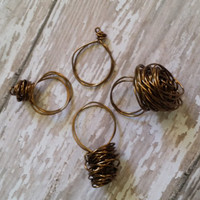 Bird Nest Ring / Wire Work Ring / Brass Wire Ring / Wire Wrapped Ring / Artisan Jewelry / Made to Order