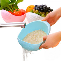 Candy color kitchen use rice wash pot plastic drainer vegetable fruit basket kitchen storage bowls plastic leakage kitchen tool