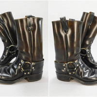 1960s Vintage / Black Leather / Harness Boots / Engineer Boots / Motorcycle Boots / Square Toe / Neolite Sole / Size 8D / Made in USA