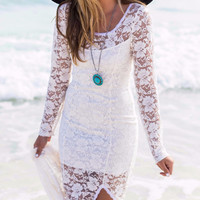 Bohemian Beach Beauty Ivory Long Sleeve Lace Maxi Dress