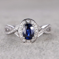 5x7mm Oval Cut Sapphire Engagement Ring Diamond Wedding Ring 14K White Gold Halo Curved Loop