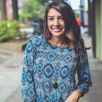 Medallion Floral Top in Blue