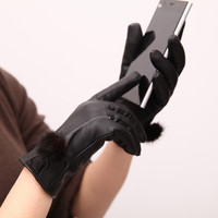 2015 winter! Warm Women Mittens Gloves Phone Screen Touch Gloves Leather Wool Outdoor Gloves = 1958131012