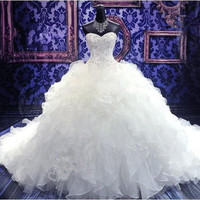 Ivory Wedding Dresses Sweetheart Pearls Beading Ruffle Pleated Cathedral Train