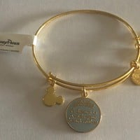 Disney Alex and Ani Parks Cinderella Dream Charm Bracelet Gold New With Tags