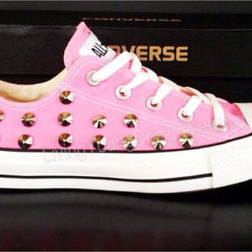 STUDDED CONVERSE SALE Pink Studded Converse Shoes Sale Custom Shoes All Star Chuck