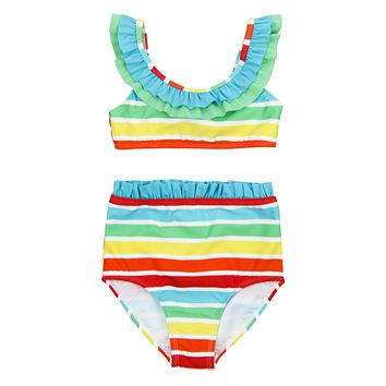 "Girl's Ruffle Bikini Set (2 Piece) | ""Rainbow"""