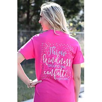 SALE Southern Darlin Throw Kindness Around Like Confetti Bow Bright Girlie T-Shirt
